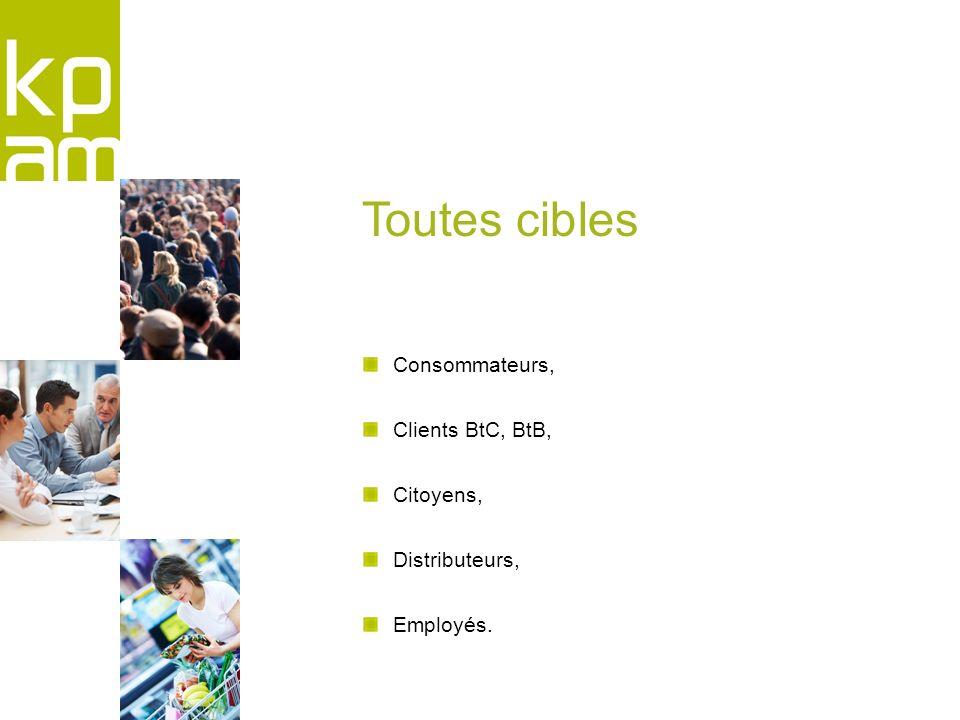 Consommateurs, Clients BtC, BtB, Citoyens, Distributeurs, Employés. Toutes cibles