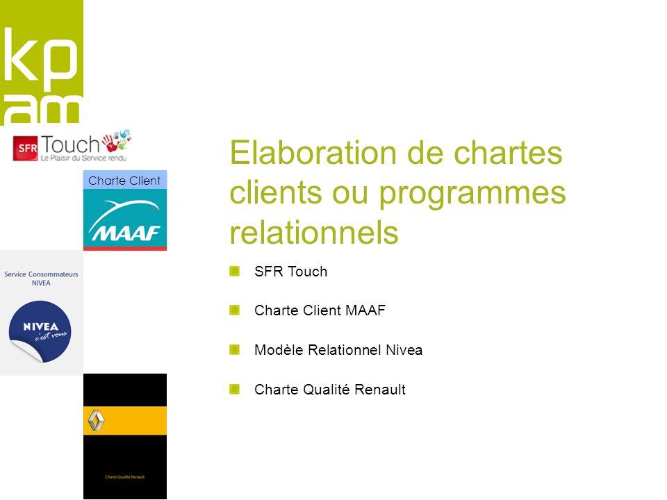SFR Touch Charte Client MAAF Modèle Relationnel Nivea Charte Qualité Renault Elaboration de chartes clients ou programmes relationnels Charte Client