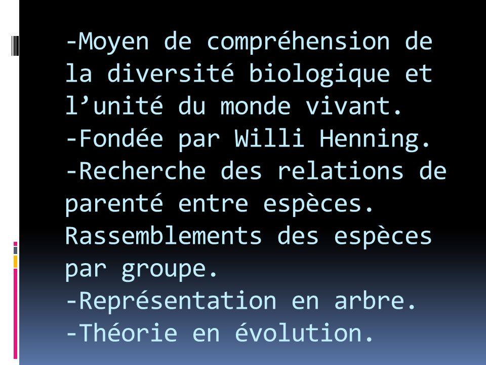 -Moyen de compréhension de la diversité biologique et lunité du monde vivant. -Fondée par Willi Henning. -Recherche des relations de parenté entre esp