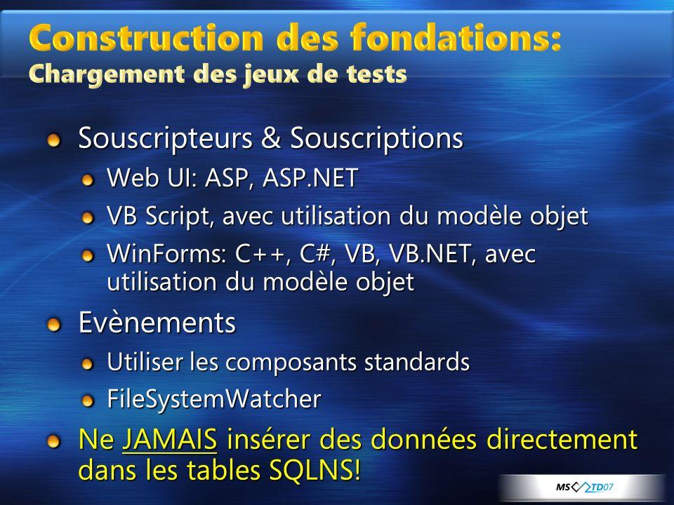 Souscripteurs & Souscriptions Web UI: ASP, ASP.NET VB Script, avec utilisation du modèle objet WinForms: C++, C#, VB, VB.NET, avec utilisation du modè