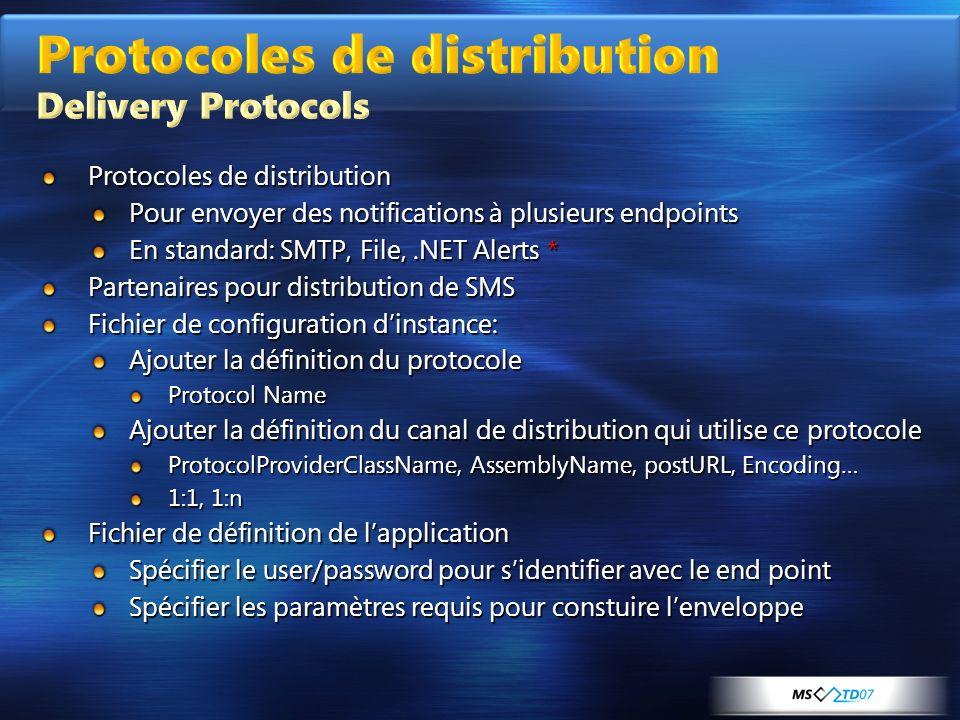 Protocoles de distribution Pour envoyer des notifications à plusieurs endpoints En standard: SMTP, File,.NET Alerts * Partenaires pour distribution de