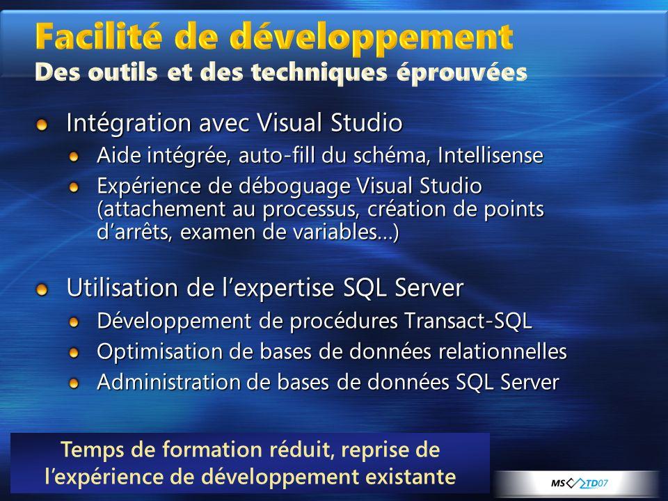 Intégration avec Visual Studio Aide intégrée, auto-fill du schéma, Intellisense Expérience de déboguage Visual Studio (attachement au processus, créat
