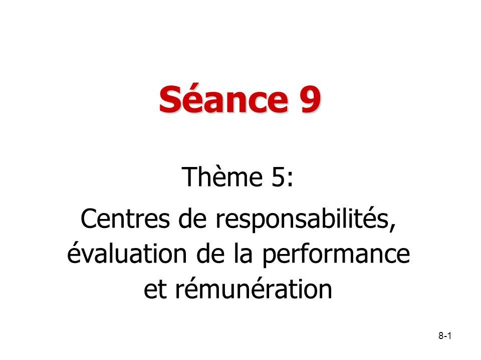 8-1 Séance 9 Thème 5: Centres de responsabilités, évaluation de la performance et rémunération