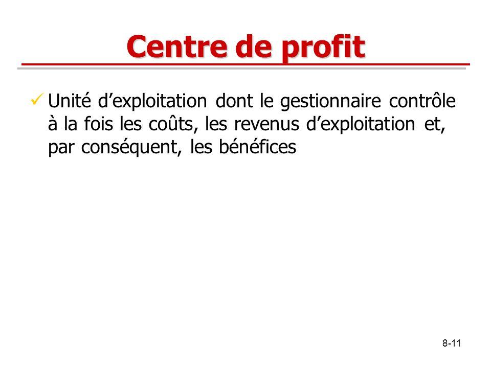 8-11 Centre de profit Unité dexploitation dont le gestionnaire contrôle à la fois les coûts, les revenus dexploitation et, par conséquent, les bénéfic