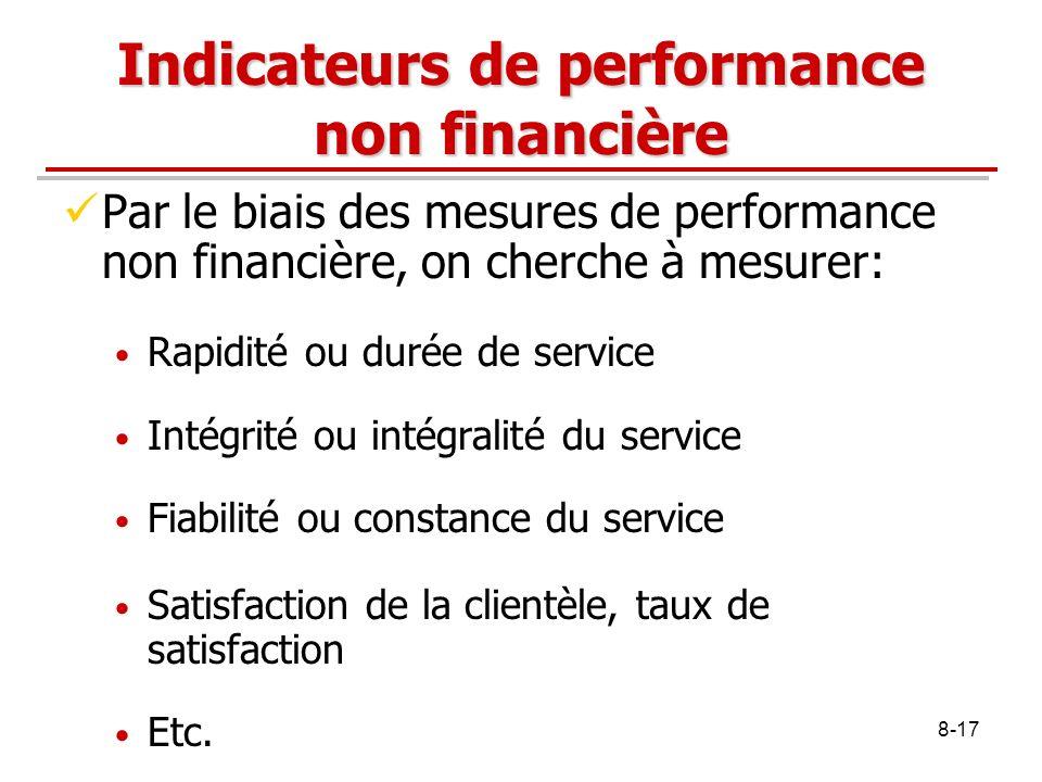 8-17 Indicateurs de performance non financière Par le biais des mesures de performance non financière, on cherche à mesurer: Rapidité ou durée de serv