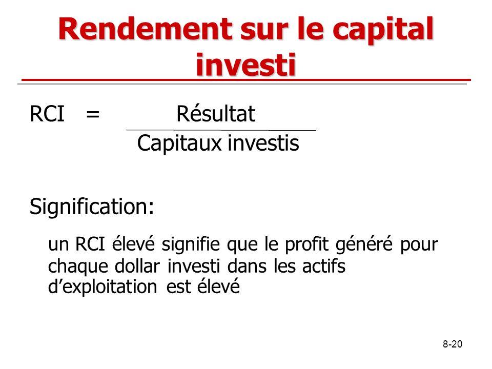 8-20 Rendement sur le capital investi RCI = Résultat Capitaux investis Signification: un RCI élevé signifie que le profit généré pour chaque dollar in