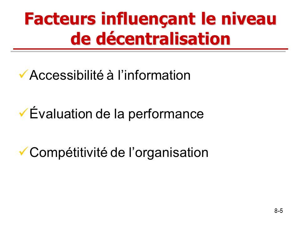 8-5 Facteurs influençant le niveau de décentralisation Accessibilité à linformation Évaluation de la performance Compétitivité de lorganisation