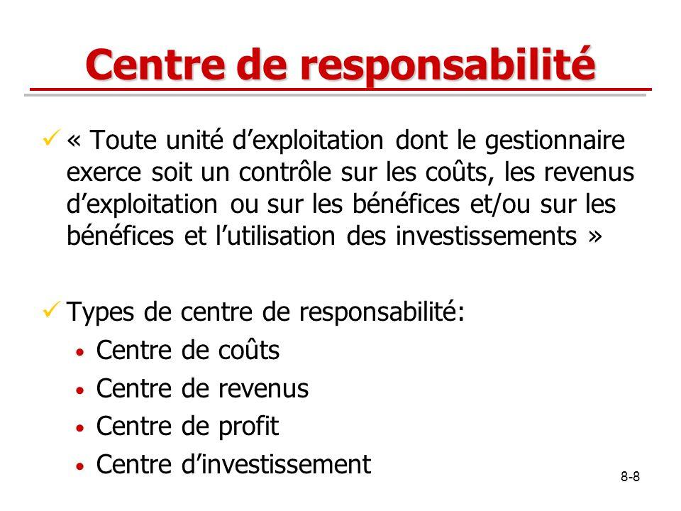 8-9 Centre de coûts Centre de responsabilité dont le gestionnaire contrôle les coûts mais non les revenus dexploitation ni les investissements.