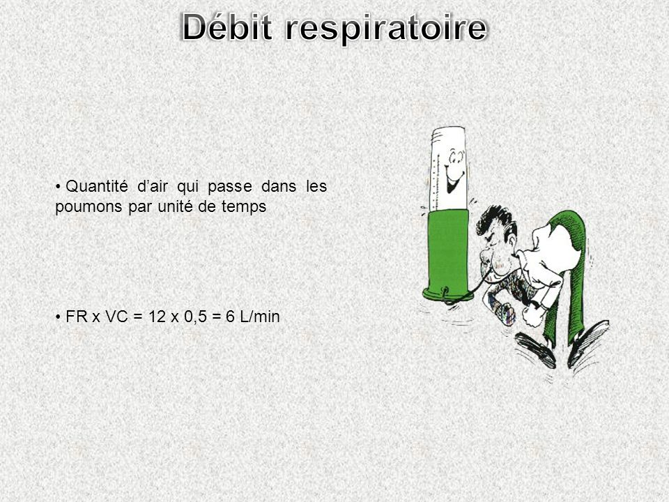 Quantité dair qui passe dans les poumons par unité de temps FR x VC = 12 x 0,5 = 6 L/min