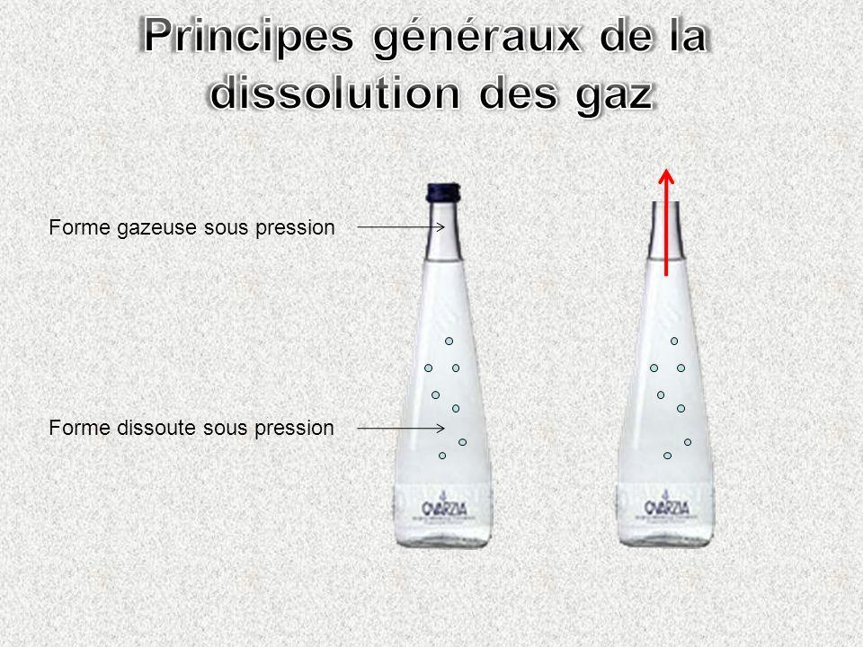 Forme gazeuse sous pression Forme dissoute sous pression