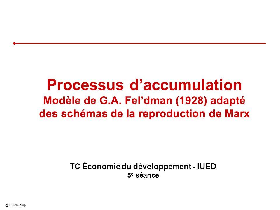 @ Hillenkamp 2 Objectifs de la présentation Comprendre à partir dun modèle simplifié la dynamique dinteraction entre les secteurs de léconomie Savoir lappliquer à une réflexion théorique à long terme sur laccumulation du capital et la croissance économique