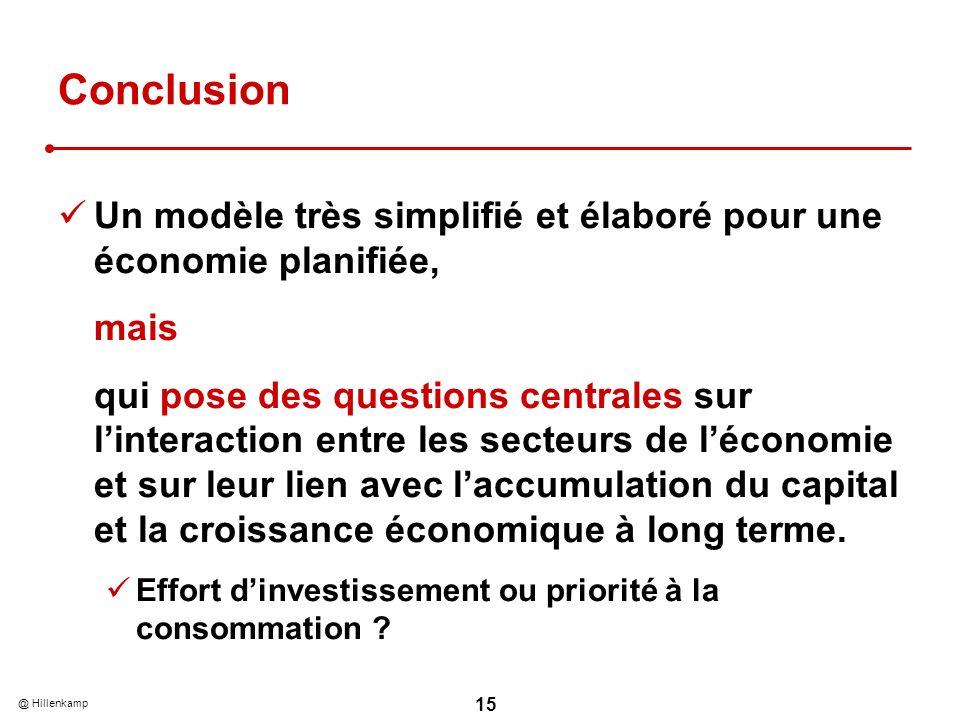 @ Hillenkamp 15 Conclusion Un modèle très simplifié et élaboré pour une économie planifiée, mais qui pose des questions centrales sur linteraction ent
