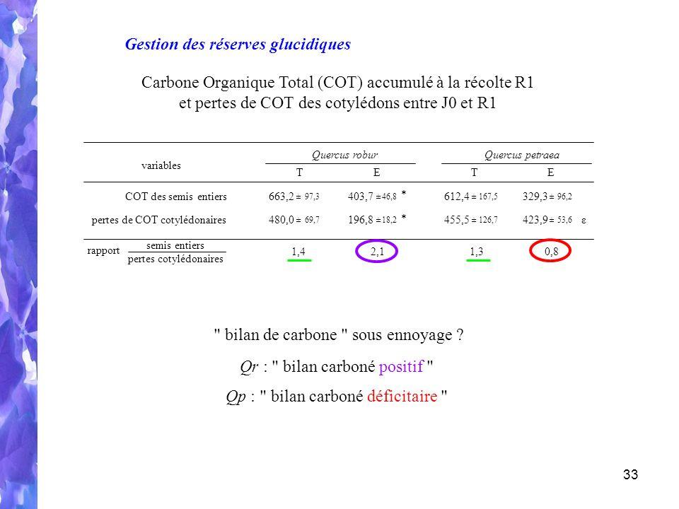 33 semis entiers pertes cotylédonaires 1,42,11,30,8 rapport COT des semis entiers663,2 ±97,3 403,7 ±46,8 612,4 ±167,5 329,3 ±96,2 pertes de COT cotylédonaires480,0 ±69,7 196,8 ±18,2 455,5 ±126,7 423,9 ±53,6 variables Quercus roburQuercus petraea TETE * ε * Carbone Organique Total (COT) accumulé à la récolte R1 et pertes de COT des cotylédons entre J0 et R1 Gestion des réserves glucidiques bilan de carbone sous ennoyage .