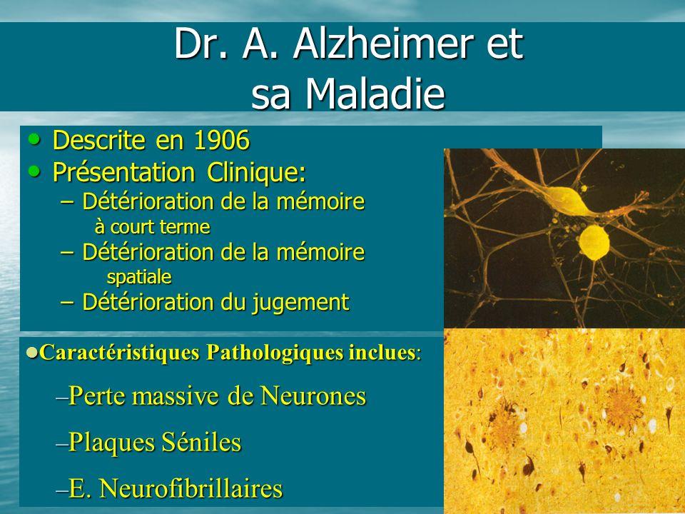 Dr. A. Alzheimer et sa Maladie Descrite en 1906 Descrite en 1906 Présentation Clinique: Présentation Clinique: –Détérioration de la mémoire à court te