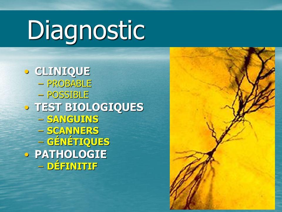 Diagnostic Diagnostic CLINIQUECLINIQUE –PROBABLE –POSSIBLE TEST BIOLOGIQUESTEST BIOLOGIQUES –SANGUINS –SCANNERS –GÉNÉTIQUES PATHOLOGIEPATHOLOGIE –DÉFI
