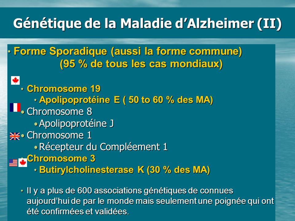 Génétique de la Maladie dAlzheimer (II) Forme Sporadique (aussi la forme commune) Forme Sporadique (aussi la forme commune) (95 % de tous les cas mond