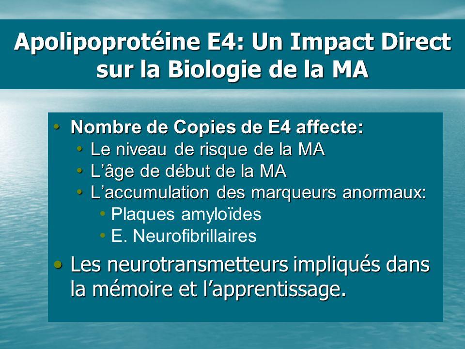 Apolipoprotéine E4: Un Impact Direct sur la Biologie de la MA Nombre de Copies de E4 affecte: Nombre de Copies de E4 affecte: Le niveau de risque de l
