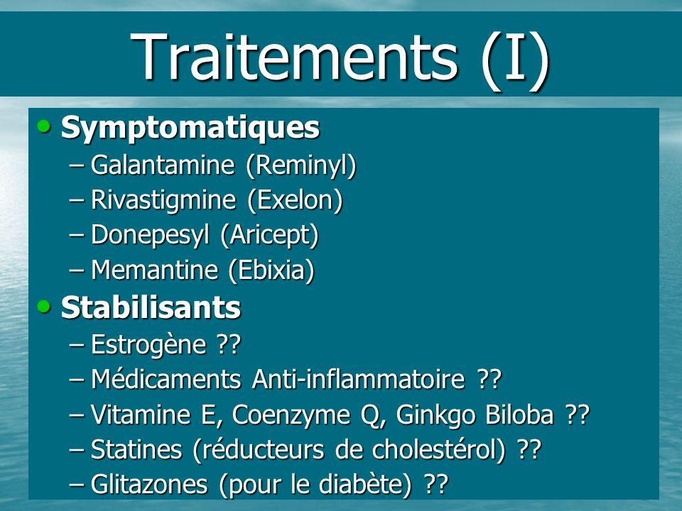 Traitements (I) Symptomatiques Symptomatiques –Galantamine (Reminyl) –Rivastigmine (Exelon) –Donepesyl (Aricept) –Memantine (Ebixia) Stabilisants Stab
