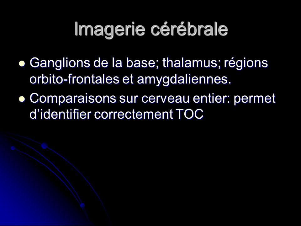 Imagerie cérébrale Ganglions de la base; thalamus; régions orbito-frontales et amygdaliennes. Ganglions de la base; thalamus; régions orbito-frontales