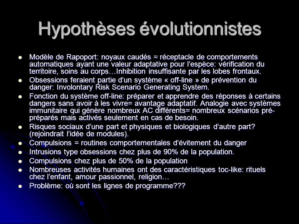 Hypothèses évolutionnistes Modèle de Rapoport: noyaux caudés = réceptacle de comportements automatiques ayant une valeur adaptative pour lespèce: véri