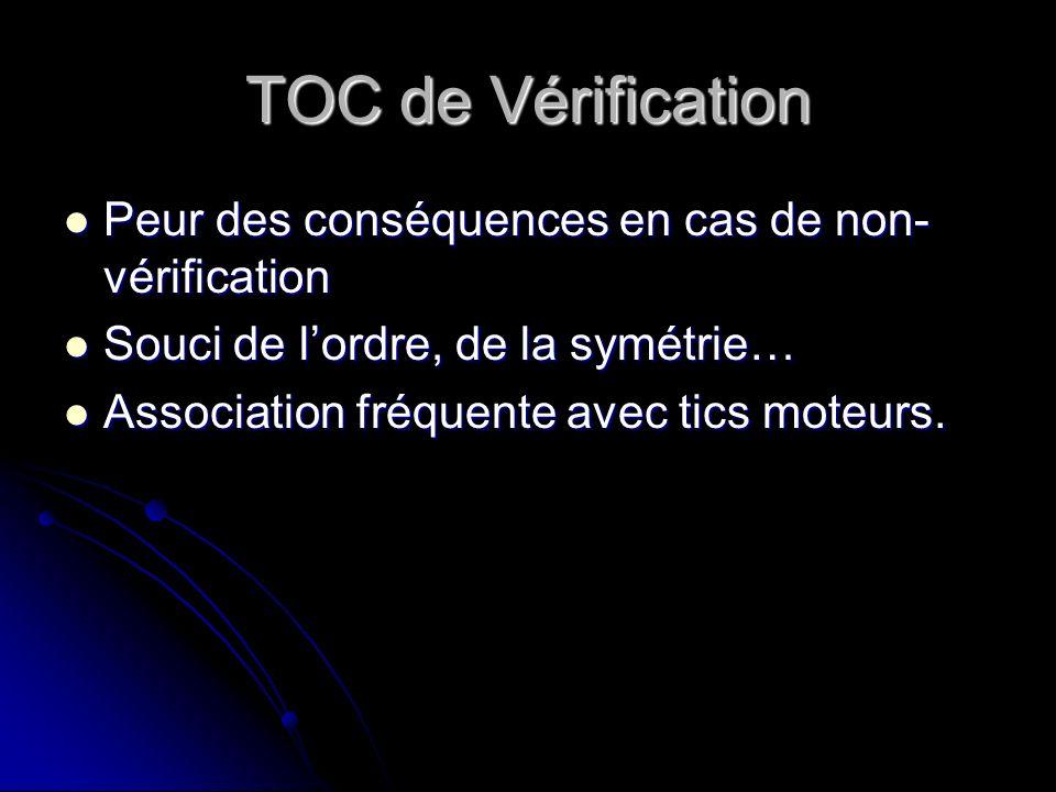 TOC de Vérification Peur des conséquences en cas de non- vérification Peur des conséquences en cas de non- vérification Souci de lordre, de la symétri