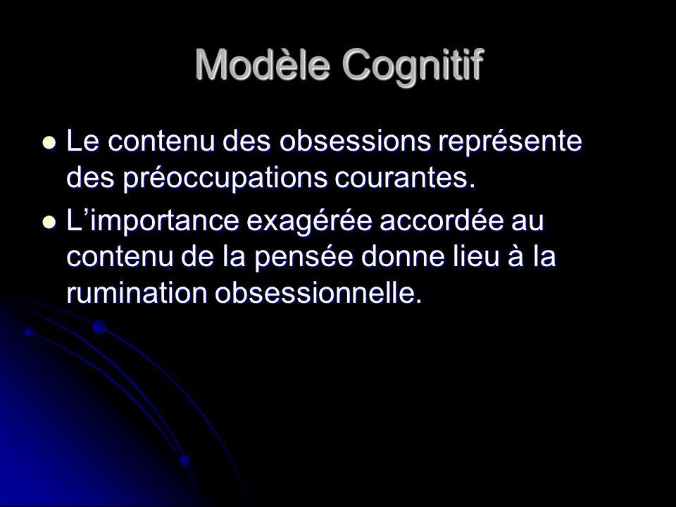 Modèle Cognitif Le contenu des obsessions représente des préoccupations courantes. Le contenu des obsessions représente des préoccupations courantes.