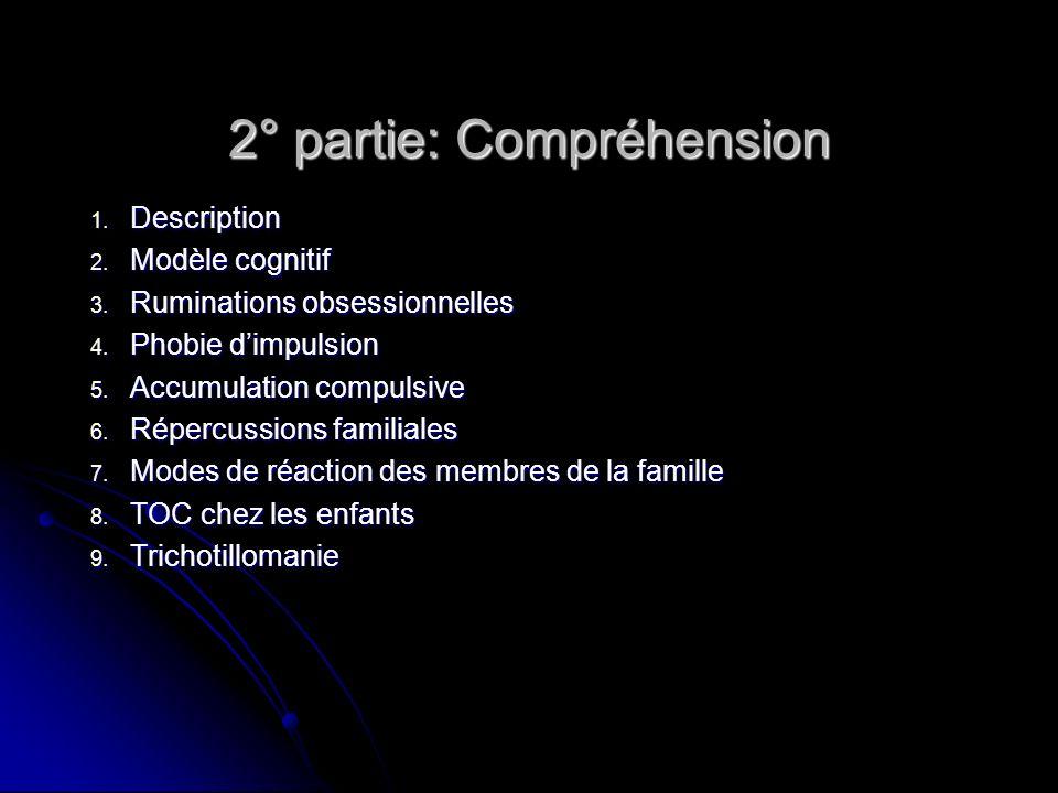 2° partie: Compréhension 1. Description 2. Modèle cognitif 3. Ruminations obsessionnelles 4. Phobie dimpulsion 5. Accumulation compulsive 6. Répercuss