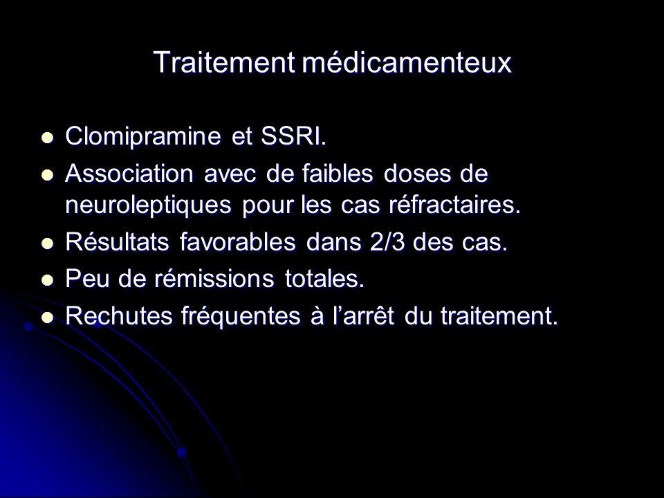 Traitement médicamenteux Clomipramine et SSRI. Clomipramine et SSRI. Association avec de faibles doses de neuroleptiques pour les cas réfractaires. As