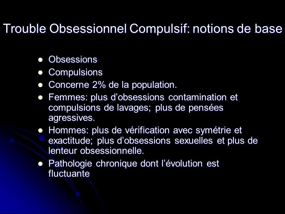 Trouble Obsessionnel Compulsif: notions de base Obsessions Obsessions Compulsions Compulsions Concerne 2% de la population. Concerne 2% de la populati