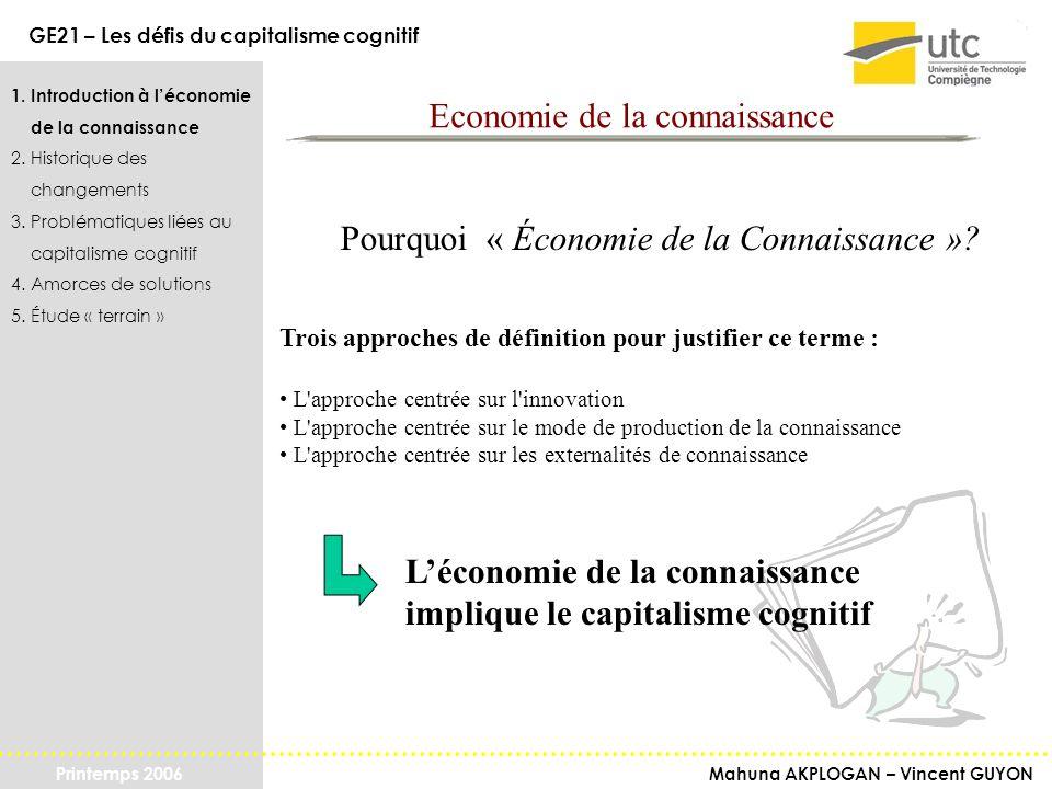 Mahuna AKPLOGAN – Vincent GUYON GE21 – Les défis du capitalisme cognitif Printemps 2006 1.