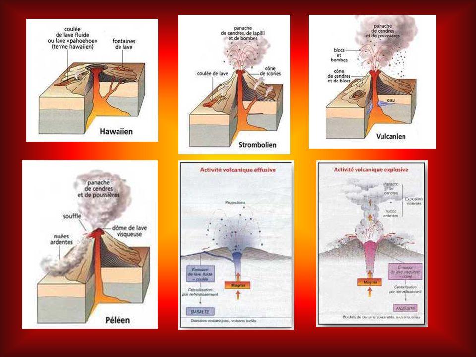 > Le type hawaïen est caractérisé par des écoulements de lave fluide et de larges cratères (activité effusive).