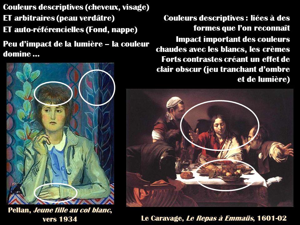 Le Caravage, Le Repas à Emmaüs, 1601-02 Pellan, Jeune fille au col blanc, vers 1934 Couleurs descriptives : liées à des formes que lon reconnaît Impac