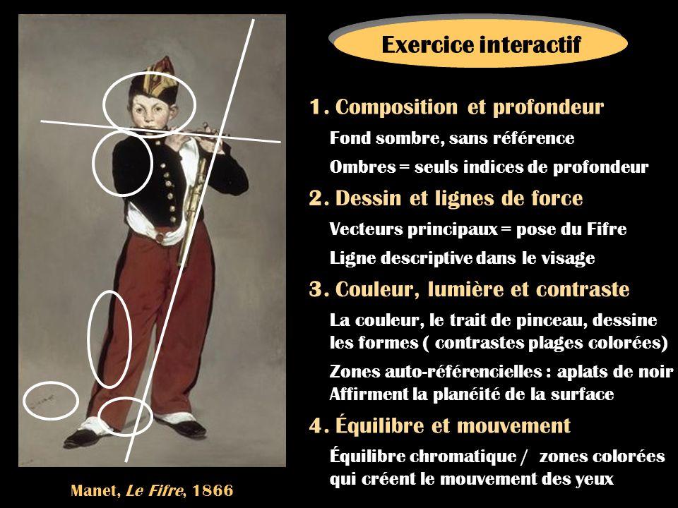 Manet, Le Fifre, 1866 Exercice interactif 1. Composition et profondeur 2. Dessin et lignes de force 3. Couleur, lumière et contraste 4. Équilibre et m