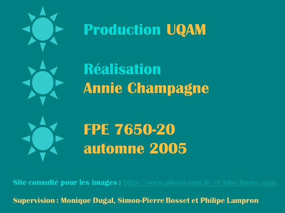Production UQAM Réalisation Annie Champagne FPE 7650-20 automne 2005 Supervision : Monique Dugal, Simon-Pierre Bosset et Philipe Lampron Site consulté