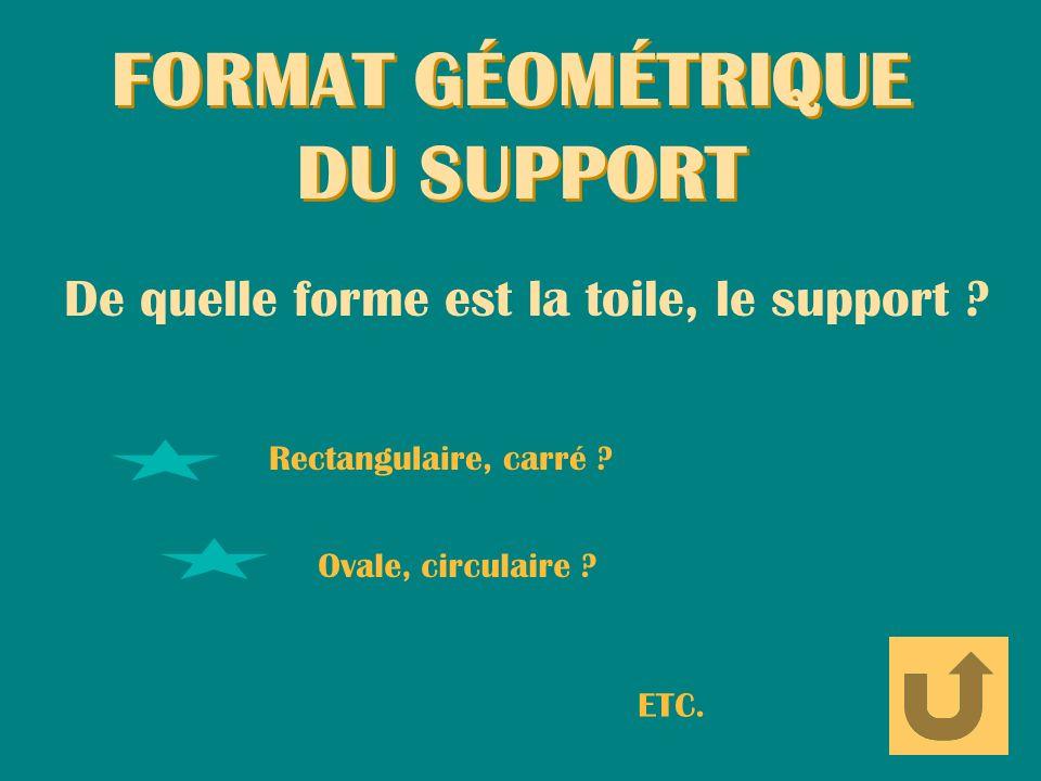 FORMAT GÉOMÉTRIQUE DU SUPPORT FORMAT GÉOMÉTRIQUE DU SUPPORT De quelle forme est la toile, le support ? Rectangulaire, carré ? Ovale, circulaire ? ETC.