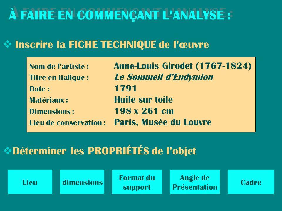À FAIRE EN COMMENÇANT LANALYSE : À FAIRE EN COMMENÇANT LANALYSE : Déterminer les PROPRIÉTÉS de lobjet Lieudimensions Format du support Angle de Présen