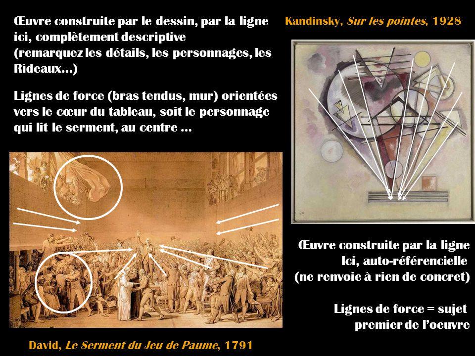 Kandinsky, Sur les pointes, 1928 David, Le Serment du Jeu de Paume, 1791 Œuvre construite par le dessin, par la ligne ici, complètement descriptive (r