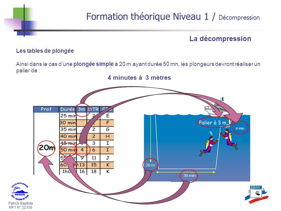 Patrick Baptiste MF1 N° 22108 La décompression Les tables de plongée Ainsi dans le cas dune plongée simple à 20 m ayant durée 50 mn, les plongeurs dev