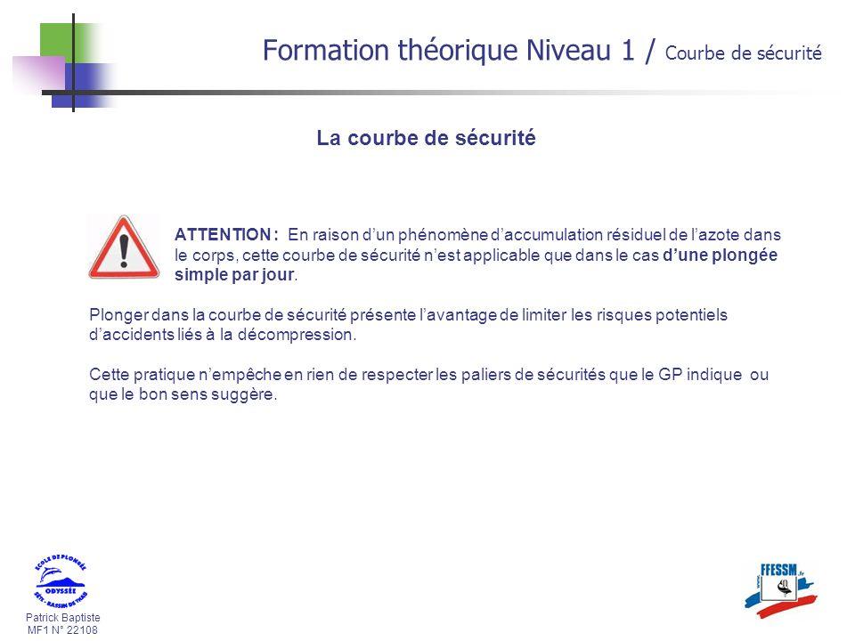 Patrick Baptiste MF1 N° 22108 La courbe de sécurité ATTENTION : En raison dun phénomène daccumulation résiduel de lazote dans le corps, cette courbe d