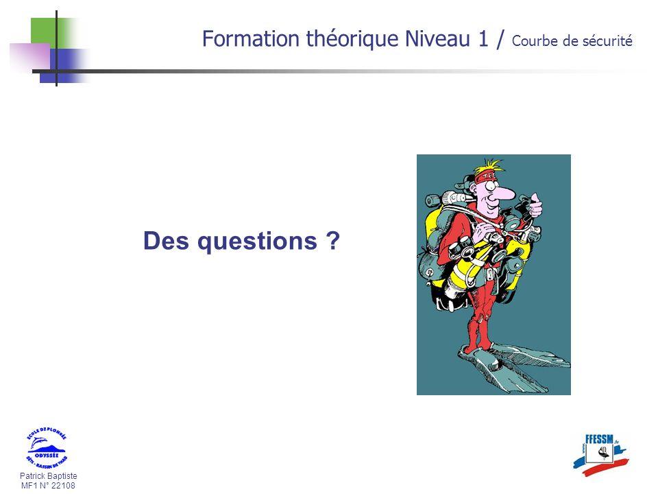 Patrick Baptiste MF1 N° 22108 Des questions ? Formation théorique Niveau 1 / Courbe de sécurité