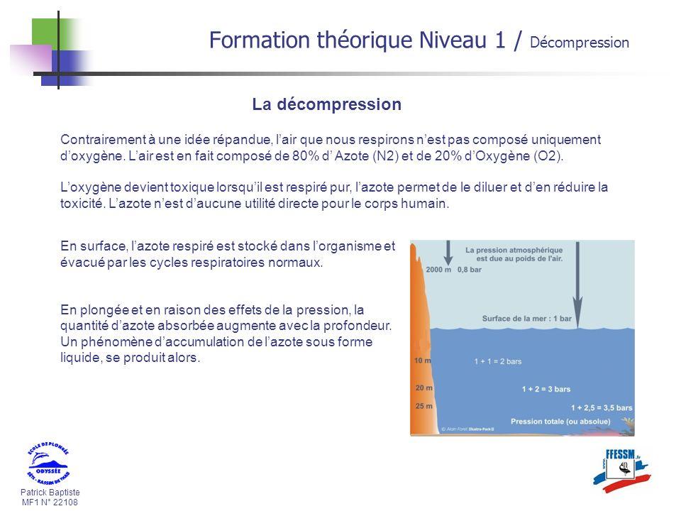 Patrick Baptiste MF1 N° 22108 Formation théorique Niveau 1 / Décompression La décompression Contrairement à une idée répandue, lair que nous respirons nest pas composé uniquement doxygène.