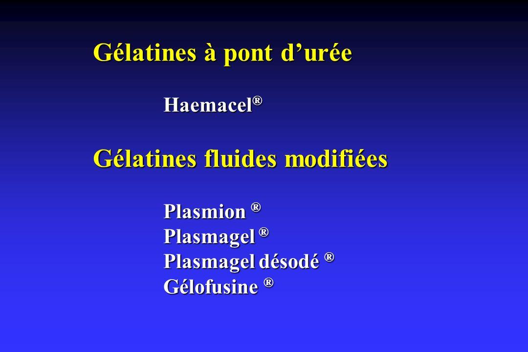 Gélatines à pont durée Haemacel ® Gélatines fluides modifiées Plasmion ® Plasmagel ® Plasmagel désodé ® Gélofusine ®