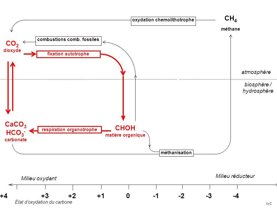 cyC +4 +3 +2 +1 0 -1 -2 -3 -4 Milieu réducteur CO 2 dioxyde CHOH matière organique Milieu oxydant atmosphère biosphère / hydrosphère État doxydation d
