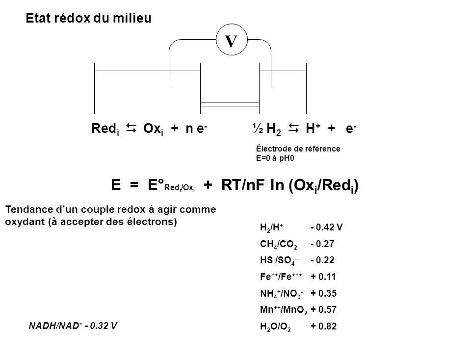 Etat rédox du milieu Red i Ox i + n e - E = E° Red i /Ox i + RT/nF ln (Ox i /Red i ) V ½ H 2 H + + e - Électrode de référence E=0 à pH0 H 2 /H + - 0.4