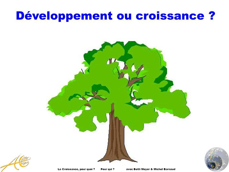 La Croissance, pour quoi ? Pour qui ? avec Betli Meyer & Michel Barnaud Développement ou croissance ?