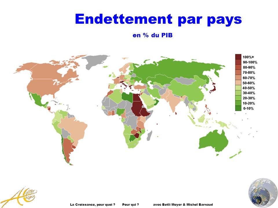 La Croissance, pour quoi ? Pour qui ? avec Betli Meyer & Michel Barnaud Endettement par pays en % du PIB