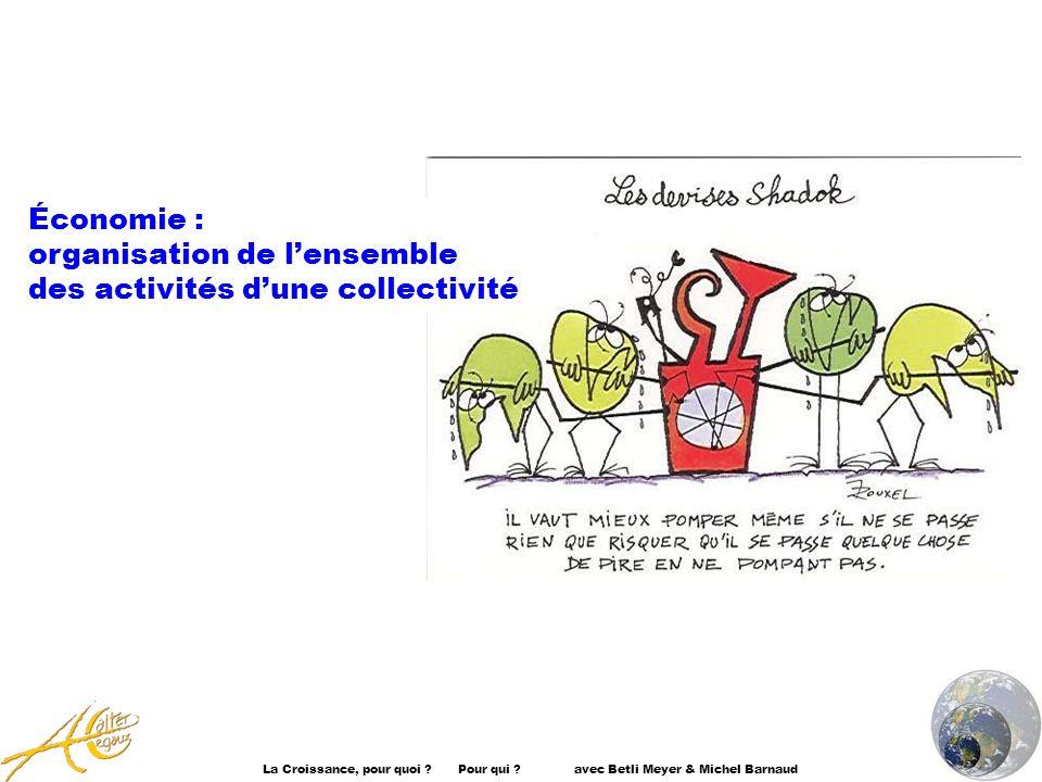 La Croissance, pour quoi ? Pour qui ? avec Betli Meyer & Michel Barnaud Économie : organisation de lensemble des activités dune collectivité