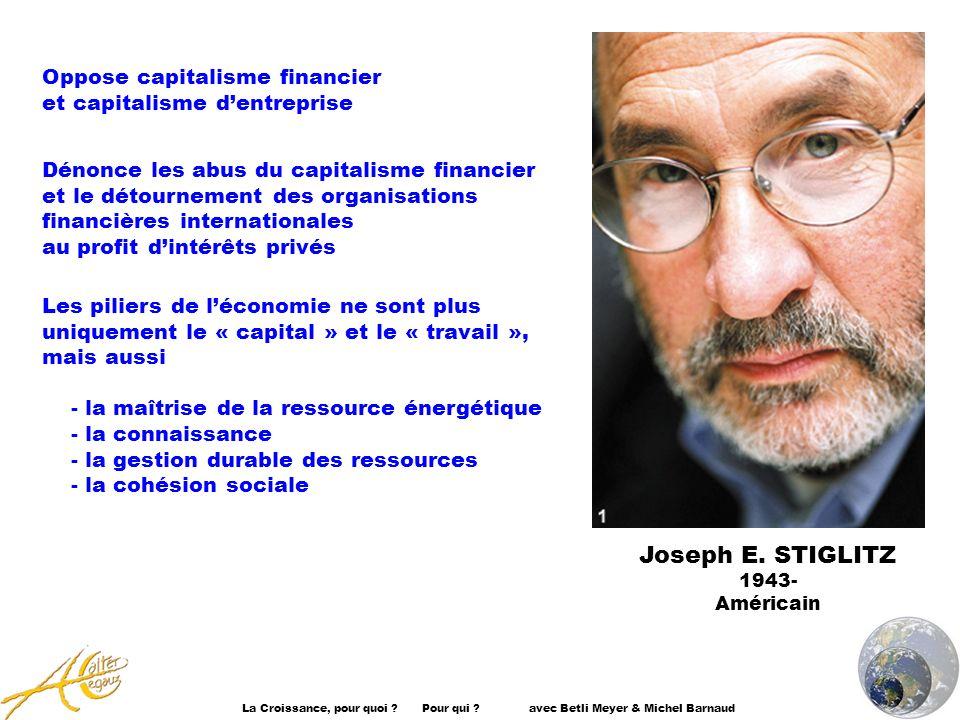 La Croissance, pour quoi ? Pour qui ? avec Betli Meyer & Michel Barnaud Oppose capitalisme financier et capitalisme dentreprise Dénonce les abus du ca
