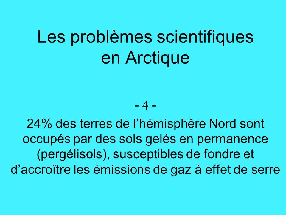 Les problèmes scientifiques en Arctique - 4 - 24% des terres de lhémisphère Nord sont occupés par des sols gelés en permanence (pergélisols), susceptibles de fondre et daccroître les émissions de gaz à effet de serre