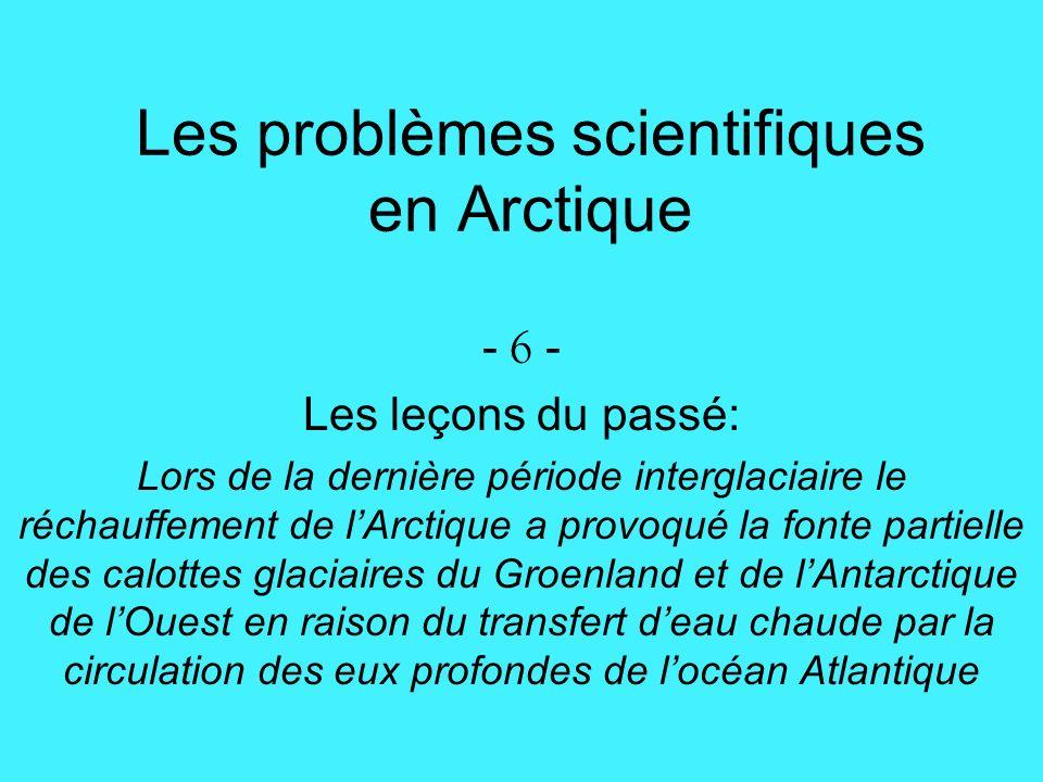 Les problèmes scientifiques en Arctique - 6 - Les leçons du passé: Lors de la dernière période interglaciaire le réchauffement de lArctique a provoqué la fonte partielle des calottes glaciaires du Groenland et de lAntarctique de lOuest en raison du transfert deau chaude par la circulation des eux profondes de locéan Atlantique